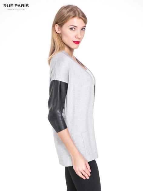Szary sweter kardigan ze skórzanym rękawami 3/4                                  zdj.                                  3