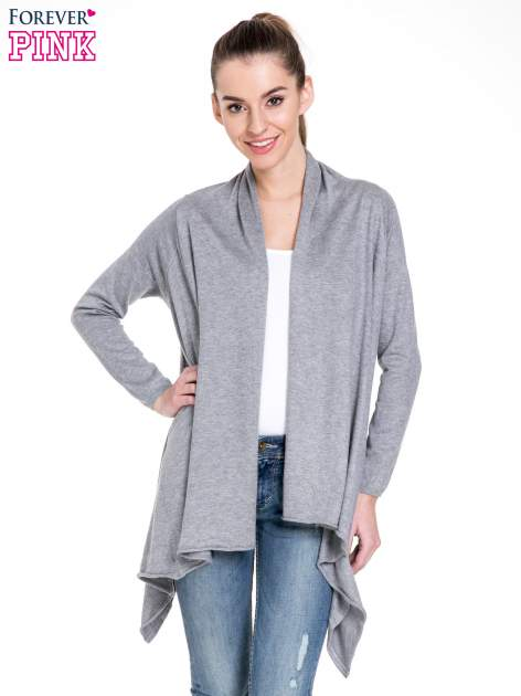 Szary sweter narzutka z kaskadowymi bokami                                  zdj.                                  1