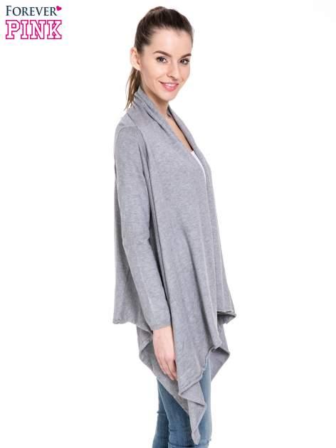 Szary sweter narzutka z kaskadowymi bokami                                  zdj.                                  3