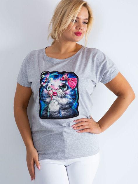 Szary t-shirt Adorable PLUS SIZE