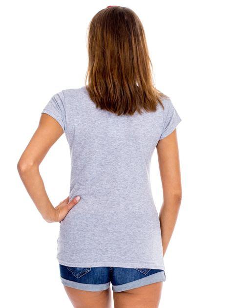 Szary t-shirt NIE MÓW DO MNIE TERAZ                              zdj.                              3