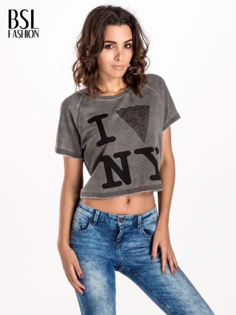 Szary t-shirt cropped z motywem pizzy                                  zdj.                                  1
