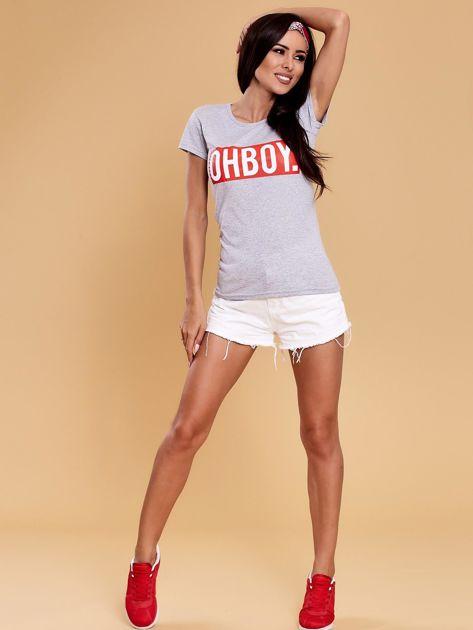 Szary t-shirt damski OH BOY                              zdj.                              4