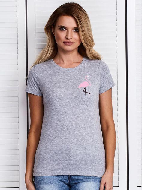 Szary t-shirt damski z motywem flaminga                              zdj.                              1