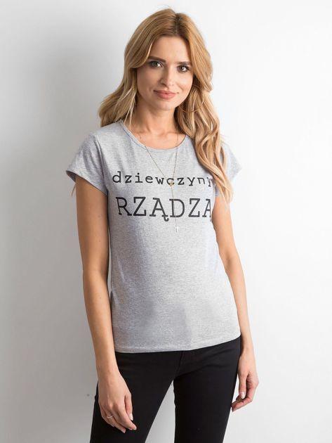 Szary t-shirt damski z napisem                              zdj.                              1