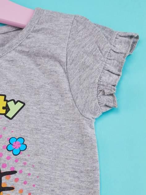 Szary t-shirt dla dziewczynki HELLO KITTY z wiązaniem na dole                                  zdj.                                  5