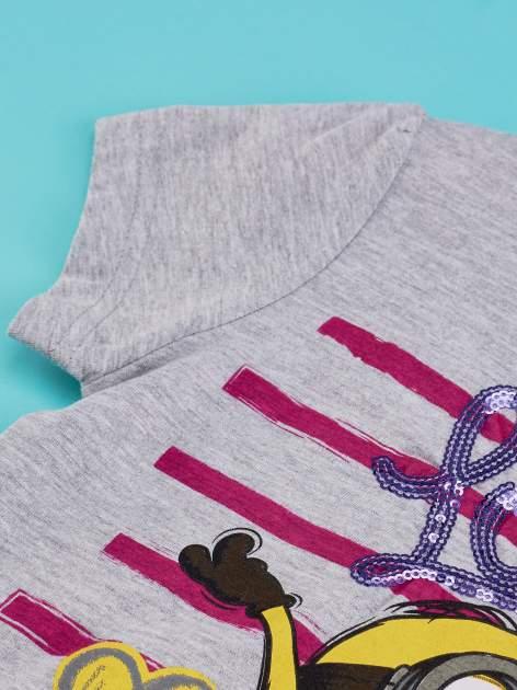 Szary t-shirt dla dziewczynki MINIONKI z cekinami                                  zdj.                                  7