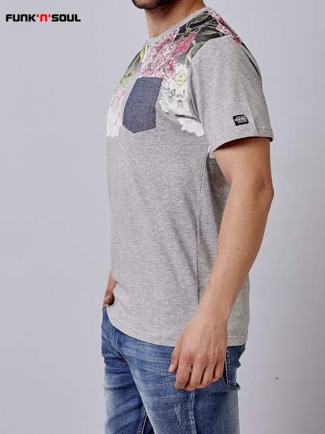 Szary t-shirt męski hipster w kwiaty Funk n Soul                                  zdj.                                  2