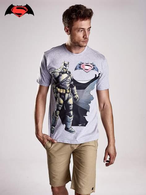 Szary t-shirt męski z nadrukiem BATMAN V SUPERMAN
