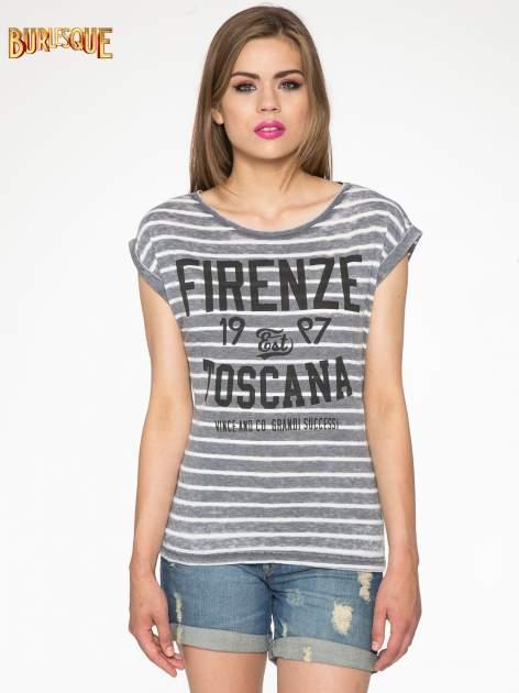 Szary t-shirt w paski z napisem FIRENZE TOSCANA                                  zdj.                                  11