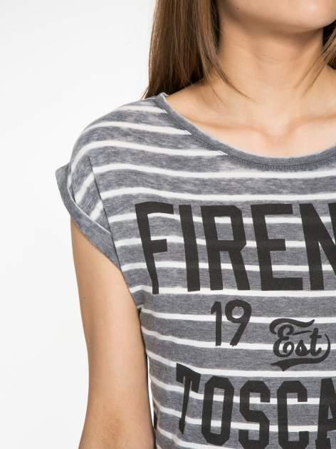 Szary t-shirt w paski z napisem FIRENZE TOSCANA                                  zdj.                                  5