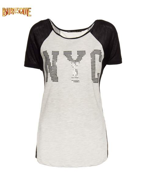 Szary t-shirt z błyszczącym nadrukiem NYC