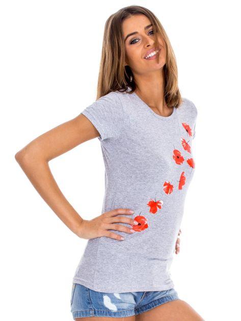 Szary t-shirt z czerwonymi kwiatami                              zdj.                              3
