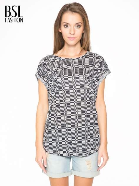 Szary t-shirt z geometrycznym nadrukiem