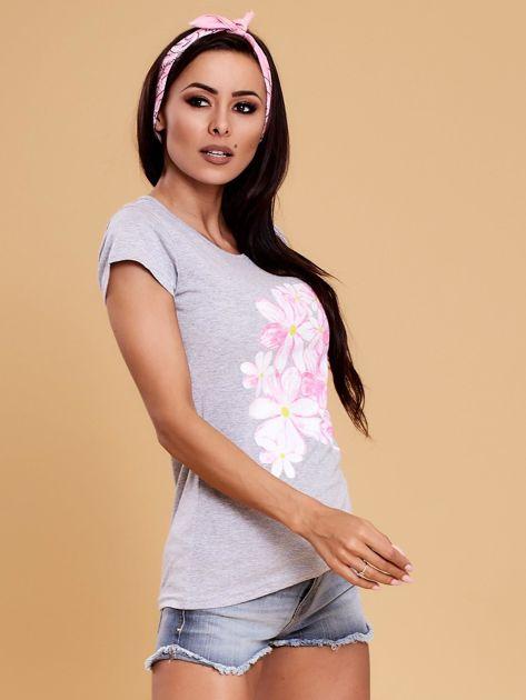 Szary t-shirt z kolorowym kwiatowym nadrukiem                              zdj.                              6