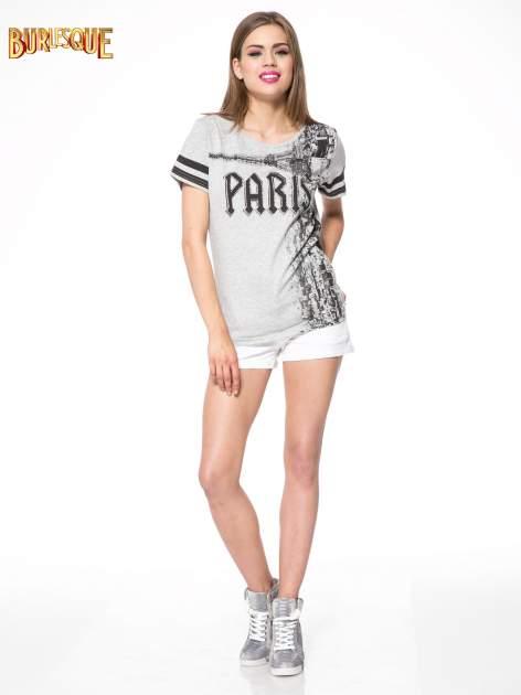 Szary t-shirt z motywem Paryża                                  zdj.                                  2