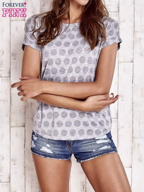 Szary t-shirt z motywem grochów                                  zdj.                                  1
