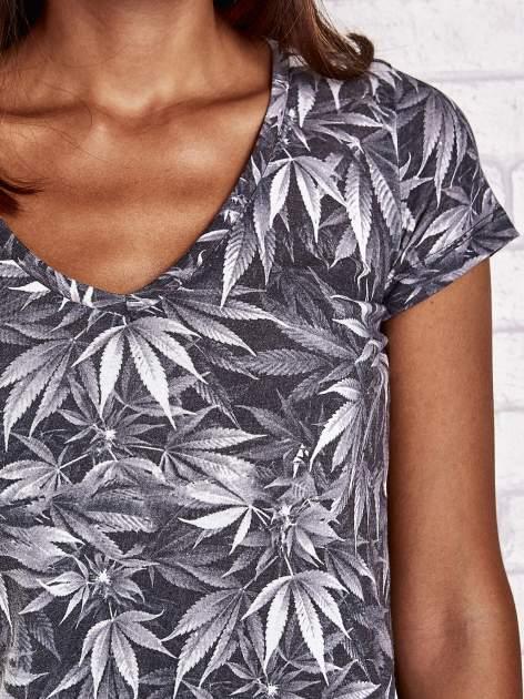 Szary t-shirt z motywem liści ganja weed                                  zdj.                                  5