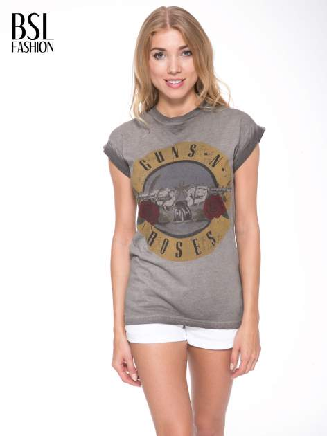 Szary t-shirt z nadrukiem GUNS N' ROSES                                  zdj.                                  1
