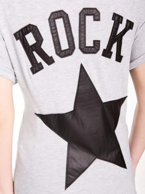 Szary t-shirt z nadrukiem ROCK na plecach                                  zdj.                                  11