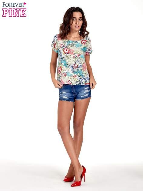 Szary t-shirt z nadrukiem floral print                                  zdj.                                  2