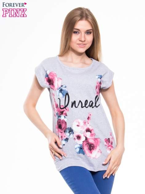 Szary t-shirt z nadrukiem kwiatów i napisem DREAM                                  zdj.                                  1