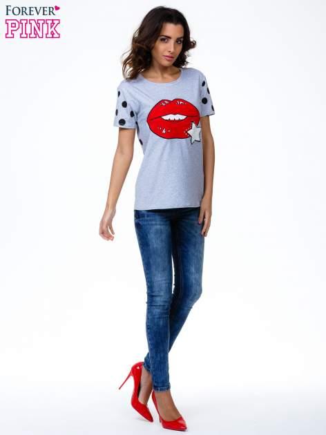 Szary t-shirt z nadrukiem ust                                   zdj.                                  7