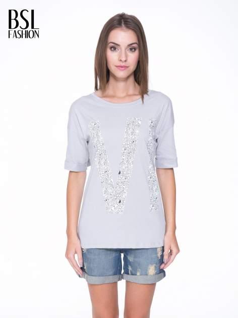 Szary t-shirt z nadukiem WIBE z przodu i na plecach                                  zdj.                                  1
