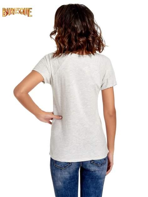Szary t-shirt z napisem HOURS MINUTES SECONDS z dżetami                                  zdj.                                  4