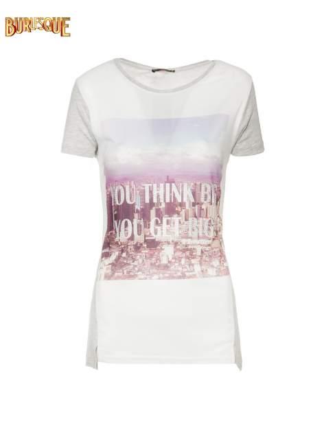 Szary t-shirt z napisem YOU THINK BIG YOU GET BIG                                  zdj.                                  6