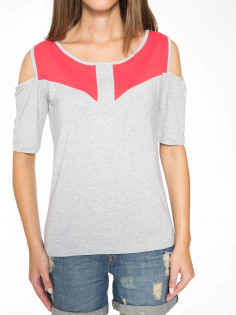 Szary t-shirt z rękawami tylem typu cut out                                   zdj.                                  7