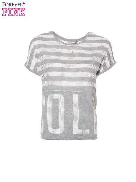 Szary t-shirt z siatkowym wzorem w stylu baseballowym                                  zdj.                                  2