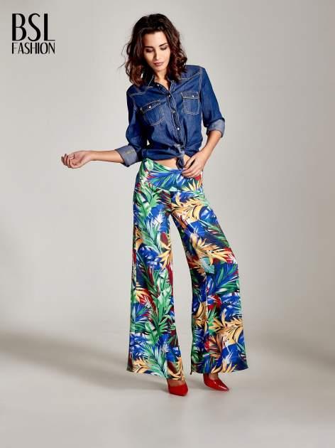 Szerokie spodnie culottes z egzotycznym nadrukiem                                  zdj.                                  9