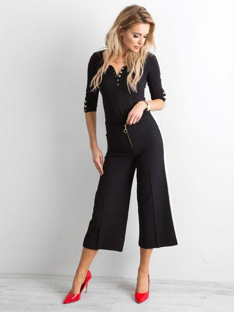 Szerokie spodnie z lampasami czarne                              zdj.                              4