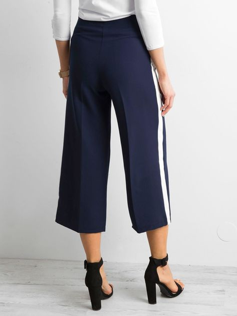 Szerokie spodnie z lampasami granatowe                              zdj.                              2