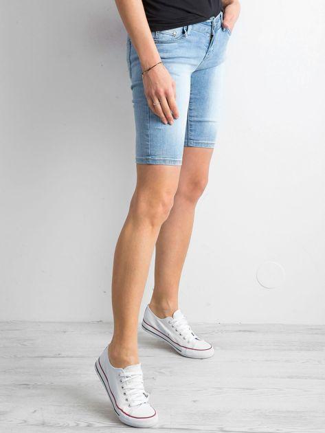 Szorty jeansowe z przetarciami niebieskie                              zdj.                              3