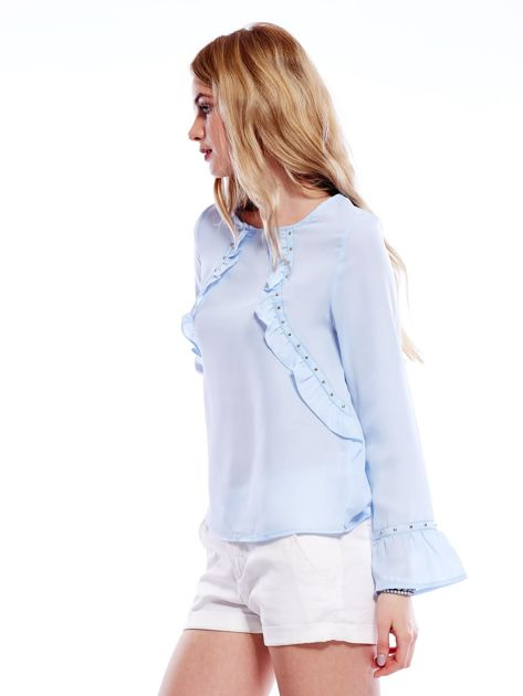 Szyfonowa bluzka z falbankami i aplikacją jasnoniebieska                                  zdj.                                  3
