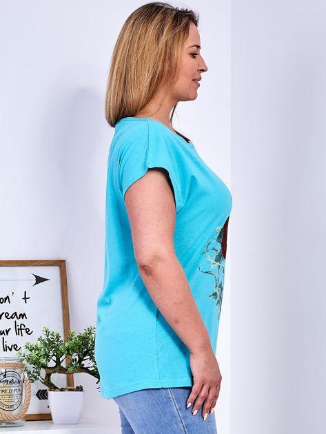 T-shirt morski z różą PLUS SIZE                                  zdj.                                  3