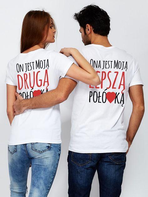 T-shirt biały dla par DRUGA POŁÓWKA                                  zdj.                                  3