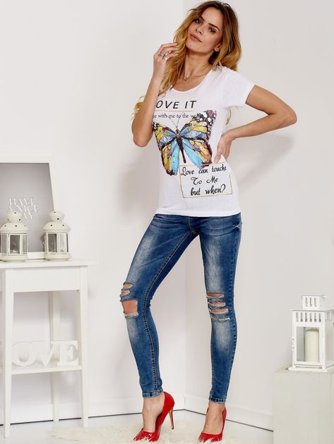 T-shirt biały z motylem                              zdj.                              4