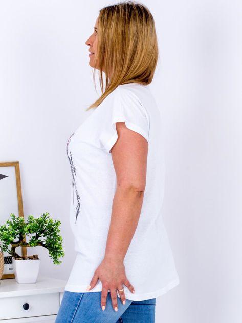T-shirt biały z nadrukiem boho PLUS SIZE                                  zdj.                                  5