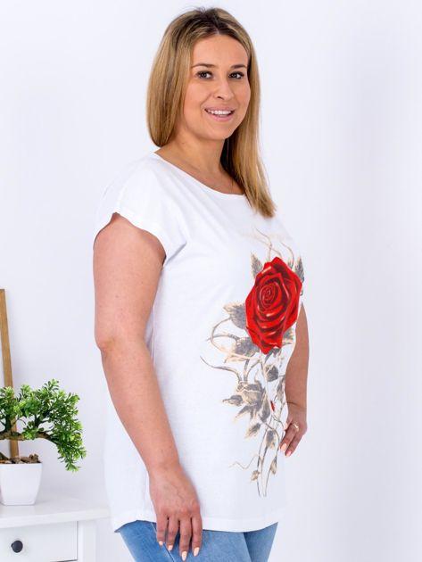T-shirt biały z różą PLUS SIZE                                  zdj.                                  5