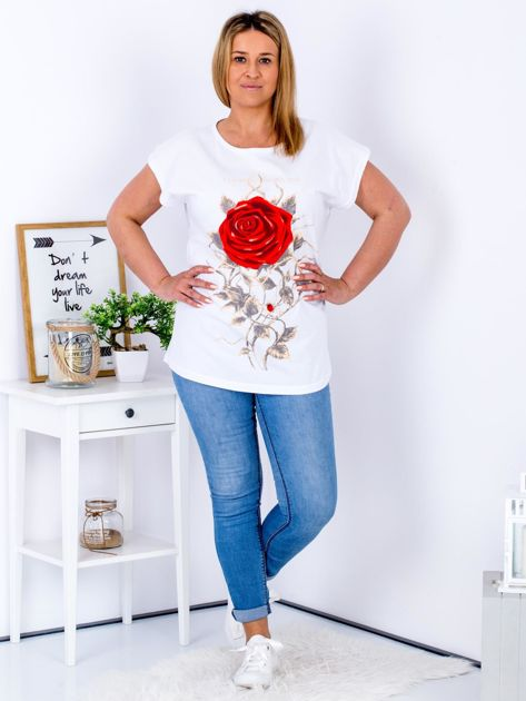 T-shirt biały z różą PLUS SIZE                              zdj.                              4