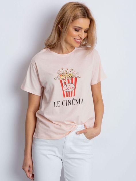 T-shirt brzoskwiniowy z popcornem                              zdj.                              1