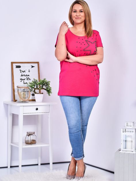 T-shirt ciemnoróżowy z gwiazdą z perełek PLUS SIZE                              zdj.                              4