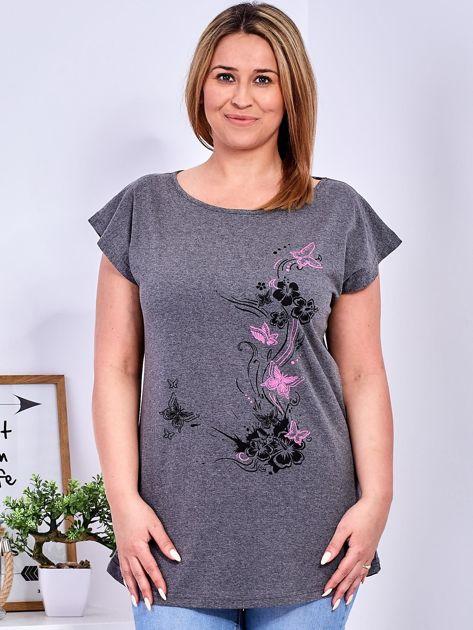 T-shirt ciemnoszary z nadrukiem motyli PLUS SIZE                              zdj.                              1
