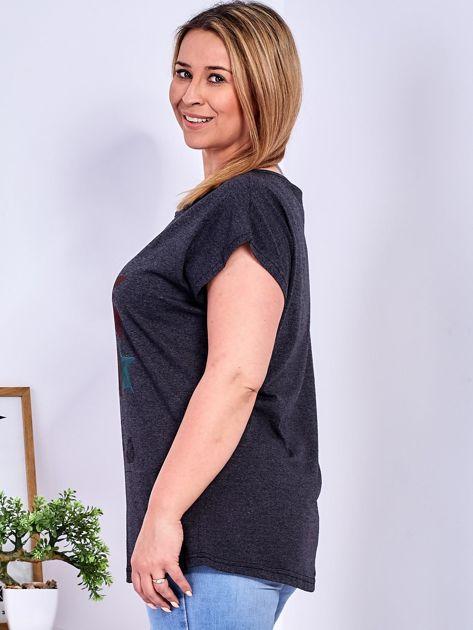 T-shirt ciemnoszary z roślinnym printem PLUS SIZE                              zdj.                              5