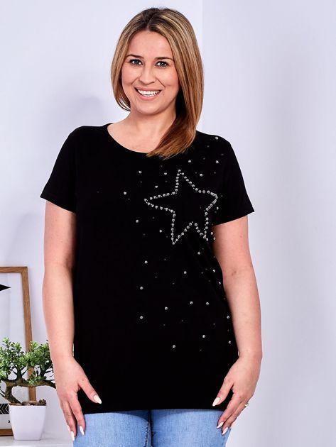 T-shirt czarny z gwiazdą z perełek PLUS SIZE                              zdj.                              1