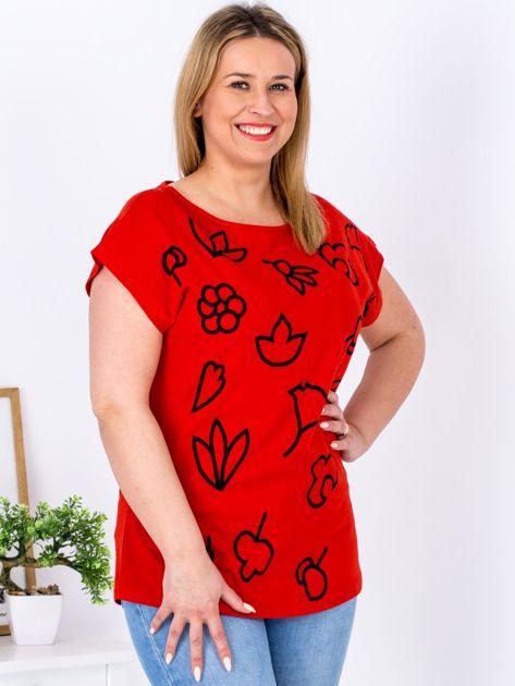T-shirt czerwony z nadrukiem PLUS SIZE                              zdj.                              5