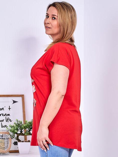T-shirt czerwony z nadrukiem roślinnym PLUS SIZE                              zdj.                              5